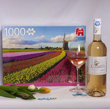 Wijngeschenk Puzzel Tulpenvelden