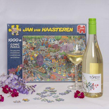 Wijngeschenk puzzel Bloemencorso Jan van Haasteren