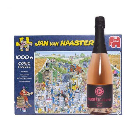 Wijnpuzzel geschenk De Wijngaard met Cava